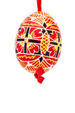 Red hanging hand painted easter egg Stock Photography