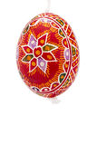 Red hanging hand painted easter egg Royalty Free Stock Photo