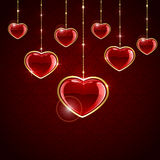 Red hanging hearts Royalty Free Stock Photos