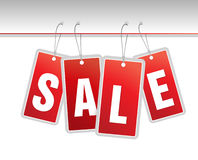 Red hanging sale labels. Royalty Free Stock Photography