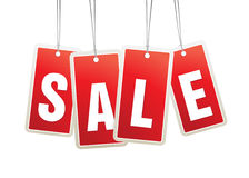 Red hanging sale labels. Stock Image