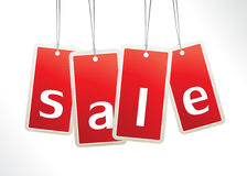 Red hanging sale labels. Stock Photos
