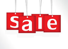 Red hanging sale labels. Royalty Free Stock Photos