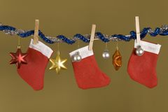 Red hanging socks, Christmas symbol Royalty Free Stock Image