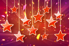 Red hanging stars and bokeh lights. Computer generated abstract festive background Royalty Free Stock Images