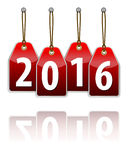Red hanging tags with the 2016 year digits. And transparent reflection. Vector illustration Royalty Free Stock Image