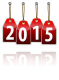 Red hanging tags with the 2015 year digits Stock Photos