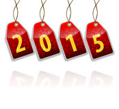 Red hanging tags with the 2015 year digits Stock Photography