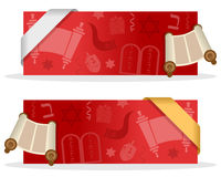 Red Hanukkah Banners with Ribbon. Two red Hanukkah banners with a Torah scroll, jewish elements and a ribbon. Eps file available vector illustration