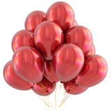 Red happy birthday balloons party decoration scarlet glossy Stock Photo