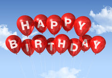Red Happy Birthday balloons in the sky. 3D red Happy Birthday balloons in the sky Stock Photography