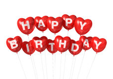 Red Happy Birthday heart shape balloons Royalty Free Stock Photography