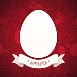 Red Happy Easter Poster With Egg Stock Photo