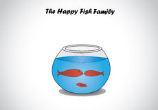 Red happy fish family in glass aquarium bowl concept design art. A transparent fishbowl with red dark smiling aquatic fishes swimming in happiness in fresh Stock Photo