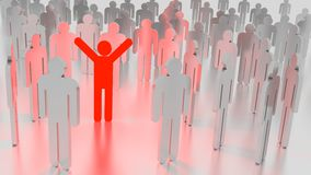 Red happy glowing man standing in a group of people Stock Photos