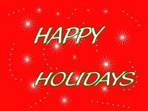 Red happy holiday. Red background green outlined stars holiday greeting Royalty Free Stock Photo