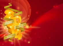 Red Happy New Year 2014 Background. A Happy New Year 2014 Background with 3d ornaments with the year on them and a ribbon reading Happy New Year, framing royalty free illustration