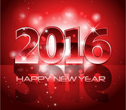 Red 2016 happy new year background with sparkle. Red glossy 2016 happy new year background with sparkle lights and reflection royalty free illustration