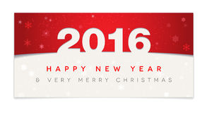 Red Happy New Year 2016 and Christmas card Stock Image