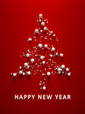 Red happy new year christmas tree Stock Image