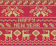 Red Happy New Year Jumper seamless knitted Pattern with deers. Stock Photography