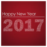 Red happy new year 2017 from little snowflakes eps10 Royalty Free Stock Images