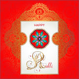 Red Happy Rakhi greeting card for indian holiday Royalty Free Stock Images