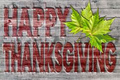 Red Happy Thanksgiving written on wooden board background with green leaf Royalty Free Stock Photo