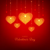 Red Happy Valentine's Day background with hearts. Vector greeting card. Stock Images