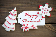Red Happy Weekend with red white Christmas Decoration Stock Photos