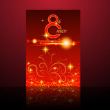 Red happy Women`s day card with flowers bokeh lights. eps 10 Stock Photography