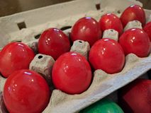 Red hard boiled Easter eggs for orthodox pascha ceremony Royalty Free Stock Photography