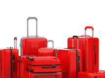 Red hard case luggages isolated on white Royalty Free Stock Photography