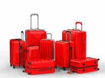 Red hard case luggages on white background Stock Images