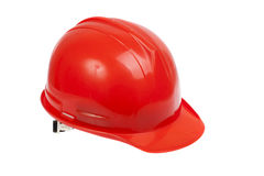 Red hard hat. Isolated on white stock photo