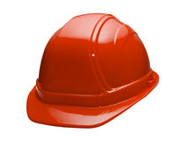 Red Hard Hat. A close up on a red hard hat isolated on a white background Royalty Free Stock Photo