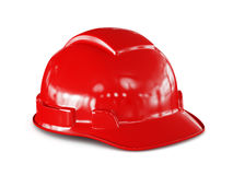 Red hard hat of construction worker isolated Stock Photography