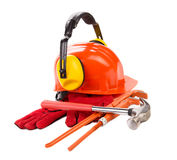 Red hard hat with gloves. Royalty Free Stock Image