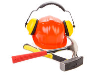 Red hard hat with gloves Stock Photo