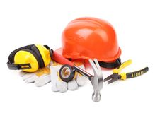 Red hard head gloves and tools Stock Photography