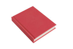 Red hardback book on white background. A red casebound hardback book with spine isolated on a white abckground stock image