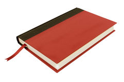 Red hardcover book, bookmark top view isolated on white Royalty Free Stock Images