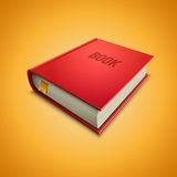 Red Hardcover Book. Vector illustration of red hardcover book on yellow background. Elements are layered separately in vector file Stock Image