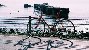 Red Hardtail Mountain Bike Near Body of Water Royalty Free Stock Images