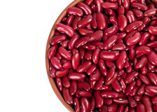 Red haricot in ceramic bowl. Top view. Stock Images