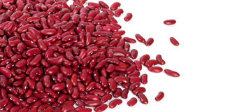 Red haricots on white with copy space Stock Images