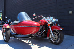 Red Harley Davidson and side car Royalty Free Stock Image