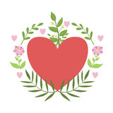 Red Hart Framed With Plants And Flowers Vector Sticker, Template St. Valentines Day Message Element Missing Text Royalty Free Stock Image
