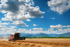 A red harvester in work with mountains Royalty Free Stock Photos