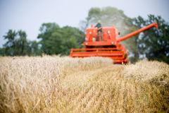 Red harvesting combine Poland Royalty Free Stock Images